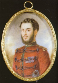 an officer of the garibaldi volunteers, in red uniform with green collar with gold thread embroidery by luigi gandolfi