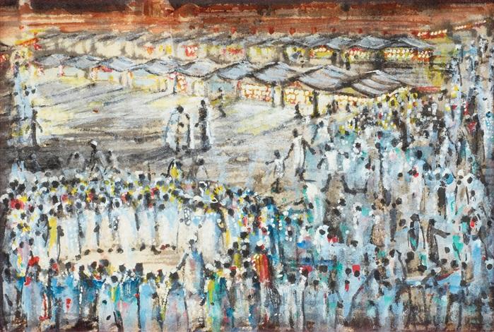 marknadsscen från djama elfna marrakech marocko by brion gysin