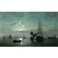 navires devant la tour de leandre a constantinople by emile valentin