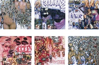 from the bullet-hole series: virginie; from the series antibiotiques: augmentin; from the series antibiotiques: ciblor; from the series antifonginiques: dermaloz; from the series antifonginiques: pevisone; utopia is not fashionable (6 works) by thomas hirschhorn