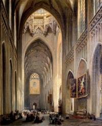 intérieur de la cathédrale d'anvers et le triptyque de rubens by jules victor genisson