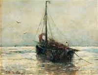 barque de pêche sur la plage by gerhard arij ludwig morgenstjerne munthe