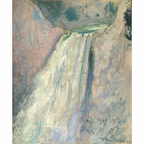 waterfall, yellowstone by john henry twachtman