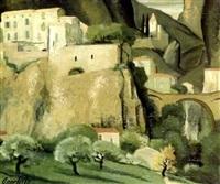 moustiers sainte-marie vue d'en bas, le pont et la chapelle notre-dame de beauvoir by anne carlu