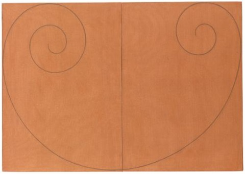 curled figure ii on 2 joined canvases by robert mangold