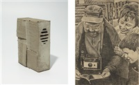 text container (+ 3 generations, graphite on canvas; 2 works) by andrei roiter