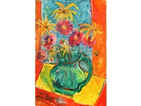 a still life study of flowers in a pitcher by sven berlin