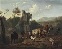 shepherds and a shepherdess driving cattle by dirk van bergen