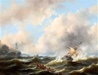 schepen op woeste zee voor een rotskust by govert van emmerik