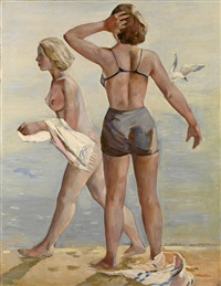 two girls on the beach by vladimir dmitrievich ilyukhin