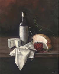 a bottle of wine, cheese, bread, with a jar of cherries to the side by paul karslake