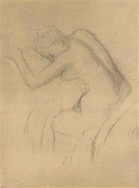 femme nue assise by edgar degas