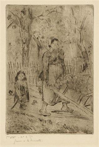 femme à la brouette by camille pissarro