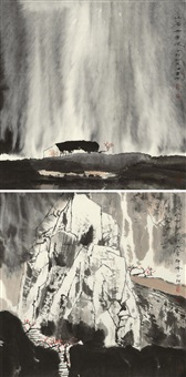 山居雨意浓·名山何必去此地有群峰 (landscape) (2 works) by bai peng