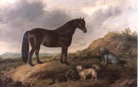 a pony and three terriers in a landscape by george jackson
