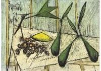 nature morte aux poires et aux raisins by bernard buffet