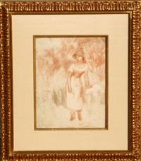 plate xi, la moissonneuse (from the portfolio aquarelles et sanguines, no. 346) by pierre-auguste renoir