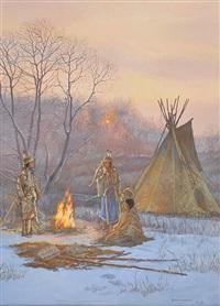 indian camp in winter by hubert wackermann