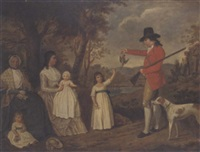a group portrait of the spreull family at charing cross, glasgow by david allan