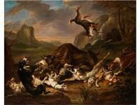 hundemeute im kampf mit einem stier by juriaen jacobsz