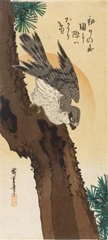 hatsuhinode matsu ni taka (sonnenaufgang am neujahrsmorgen, kiefer und falke) by ando hiroshige