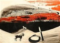 red and black landscape with horse by charles s. (pic) higgins
