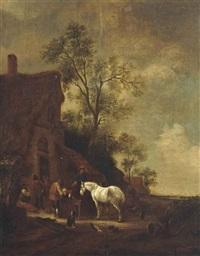 peasants watering horses before an inn by philips wouwerman