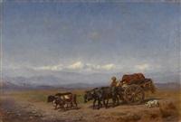 rural caucasian scene by konstantin nikolaevich filippov