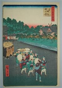 oban tate-e, série des 100 vues d'edo, le temple de zojo à shiba by ando hiroshige