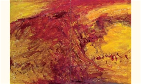 composition abstraite jaune (diptych) by t'ang haywen