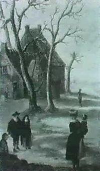 personnages dans un paysage d'hiver by barent avercamp