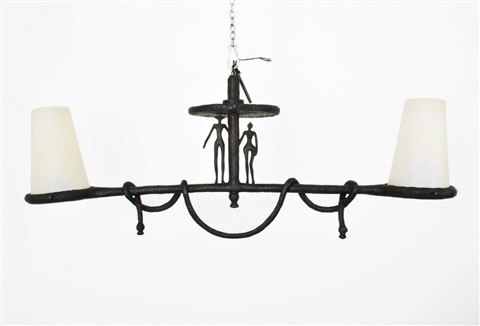 large chandelier with ceiling cap in the manner of alberto giacometti and manufactured by alberto giacometti
