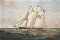 """the pilot boat """"washington #22"""" with steamships and a clipper ship in the distance by conrad freitag"""