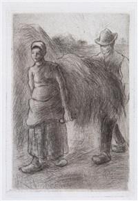 paysans portant du foin by camille pissarro