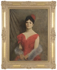 portrait of a lady in a red dress and fox stole by edward grenet