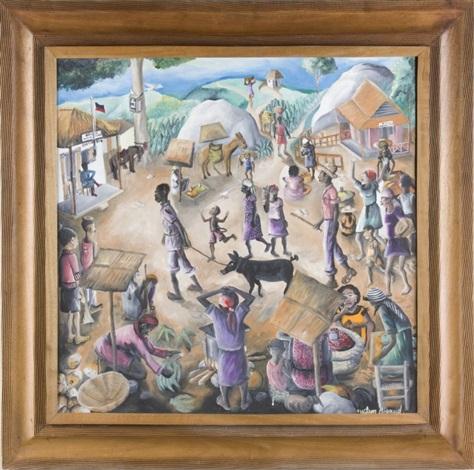 village scene by wilson bigaud