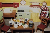 blonde/red dress/kitchen by laurie simmons