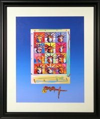 twelve liberty heads - blue by peter max