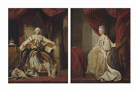 portrait of king george iii (1738-1820), full-length, seated in robes of state, in an interior; and portrait of queen charlotte (1744-1818), full length, seated in coronation robes, in an interior by joshua reynolds