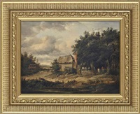 a cottage by a pond with figures by a gate by patrick nasmyth