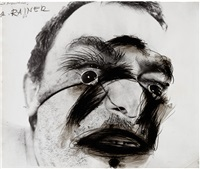 self-portrait with eye amplifier by arnulf rainer