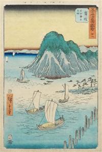 gojûsan tsugi meisho zue (die 53 berühmten ansichten). blatt: maisaka, imagiri kaijo funawatashi (maisaka, die überquerung des imagiri-golfes mit schiffen). blatt nr. 31 by ando hiroshige