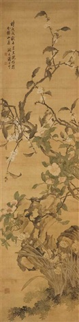 cherry blossom branches, camellias, and narzissus by tang shishu