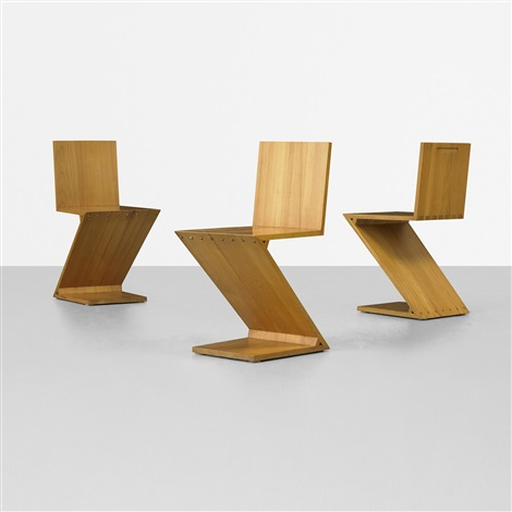 zig zag chairs set of 6 by gerrit rietveld