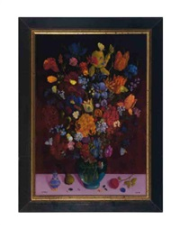 still life of flowers with butterflies, bees, beetles and a pink stone ring by charles jay