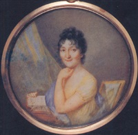 a lady (frances gabriella of talbot?), seated at her desk, in yellow dress, blue shawl over her right shoulder by karl gottlieb schweikart