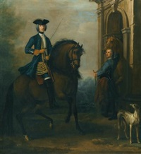 portrait of a gentleman on horseback, probably james douglas-hamilton, 5th duke of hamilton and 2nd duke of brandon (1703-1743), mounted on a bay hunter, with his groom holding another horse by a classical arch, and a greyhound by john wootton