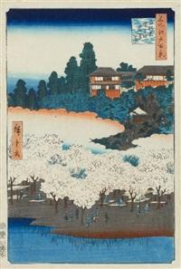 meisho edo hyakkei (die 100 berühmten ansichten von edo). blatt: sendagi, dango-zaka hana-yashiki (blumenpavillion, der dango hügel in sendagi) by ando hiroshige