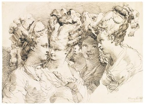 study of five young women, head and shoulders, with elaborately dressed hair by gaetano gandolfi