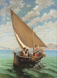 barca con figure al largo di napoli by pietro gabrini